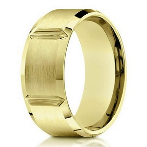 Designer Mens 10K Yellow Gold Wedding Ring With Grooves
