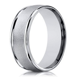 10K White Gold Men's Wedding Band With Sandblasted Center | 6mm