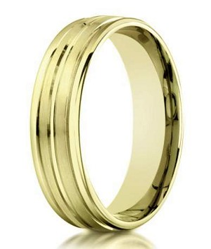 Designer 10K Yellow Gold Wedding Ring With Polished Accents | 6mm
