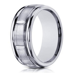 Designer Men's 10K White Gold Wedding Band With Raised Center | 6mm