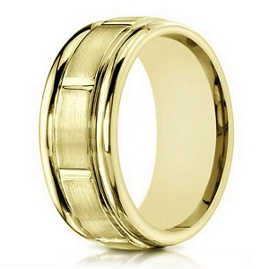 10K Yellow Men's Gold Wedding Band With Vertical Grooves | 6mm
