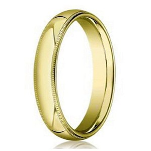 Designer 5 mm Domed Milgrain Polished Finish with Comfort-fit 10K Yellow Gold Wedding Band - JB1043