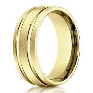Designer 6 mm Engraved & Satin Finish 14K Yellow Gold Wedding Band - JB1126
