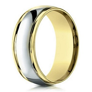 Designer 6 mm Two-toned Polished Finish 14K Yellow & White Gold Wedding Band - JB1144
