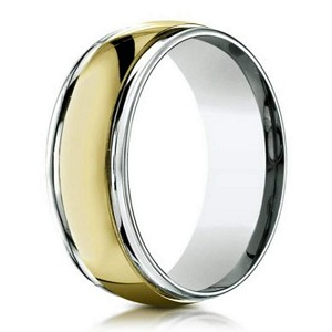 Two Tone 18K Yellow Gold And Platinum Mens Designer Wedding Ring