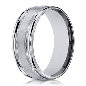 Designer 6 mm Spun Satin Finish 14K White Gold Wedding Band - JB1154