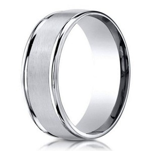 Palladium Wedding Band with Domed Profile and Polished Edges | 6mm - JB1160
