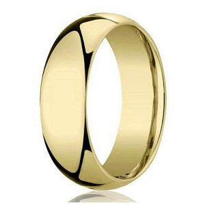 Traditional Dome 18k Yellow Gold Wedding Band For Men 6mm