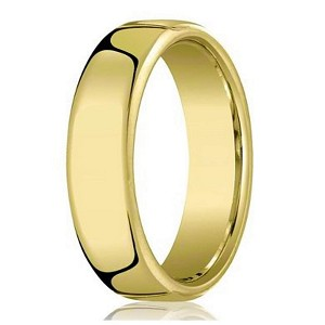 18k Yellow Gold Wedding Band For Men With Heavy Comfort Fit 6 5mm