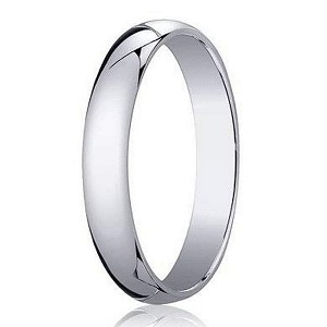 Men's 18K White Gold Designer Wedding Ring, Domed Profile | 3mm
