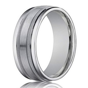 Designer Men's Wedding Ring in 18K White Gold, Milgrain Lines | 4mm