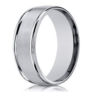 18K White Gold Designer  Band for Men With Double Ridge Edges | 6mm