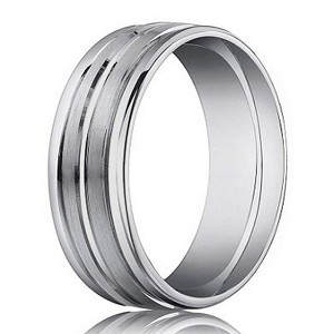 Designer Men's 18K White Gold Wedding Band, Mixed Finishes | 4mm