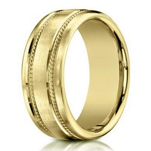 mens 18k yellow gold designer wedding band rope details 75mm - Design A Wedding Ring