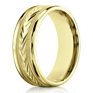 Carved Arrow Design 18k Yellow Gold Wedding Ring For Men 6mm