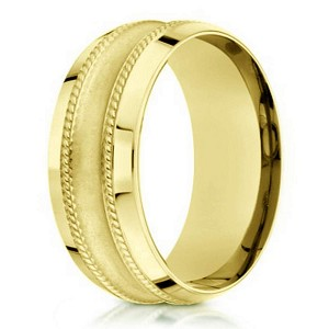 18K Yellow Gold Men's Designer Wedding Ring, Satin Finish | 7.5mm
