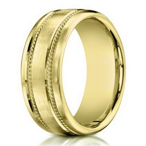 14K Yellow Gold Men's Designer Wedding Band, Rope Accents | 7.5mm