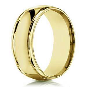 Traditional Men's 14K Yellow Gold Designer  Band, Double Edges | 6mm