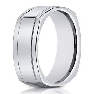 14K Men's Polished White Gold Band With Square Design | 7mm
