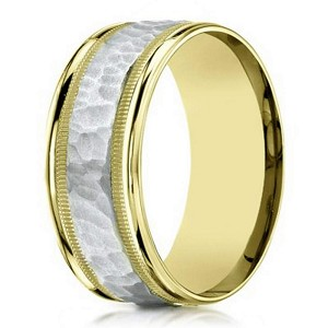 Two Tone Men's 14K Yellow Gold Designer Ring, Hammered Center | 8mm