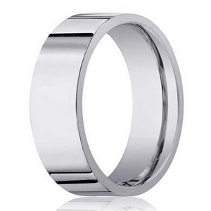 Men's Designer 18K White Gold Wedding Band with Flat Profile