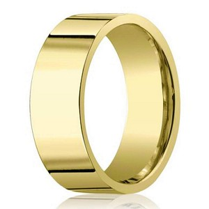 14k yellow gold mens designer wedding band 8mm - Mens Gold Wedding Rings