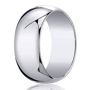 14k mens white gold designer wedding band with polished dome - Mens Gold Wedding Ring