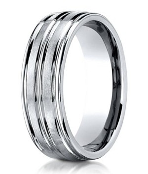 Designer Cobalt Chrome Grooved Satin Finish Wedding Ring with Polished Edges | 8mm - JBCB1011