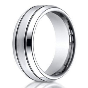Designer Cobalt Chrome Men's Wedding Ring With Blackened Grooves | 7mm
