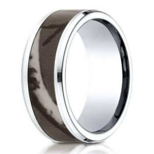 Men's Designer Cobalt Chrome Ring, Camo Center  | 8mm