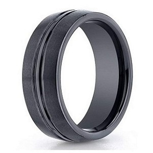 Men's Black Seranite Designer Ring with Polished Groove | 6mm - JBCS1001
