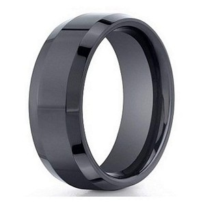 Men's Black Seranite Wedding Band with Beveled Edges | 7mm - JBCS1004
