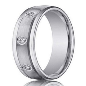 White Gold 14K Wedding Ring with 8 Round Diamonds | 4mm- JBD1006