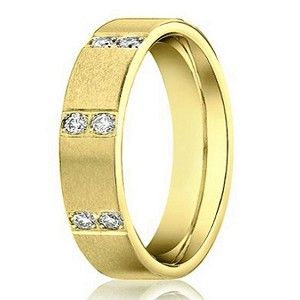 Men's 14K Yellow Gold Diamond Wedding Ring with 16 Round Diamonds | 4mm - JBD1007