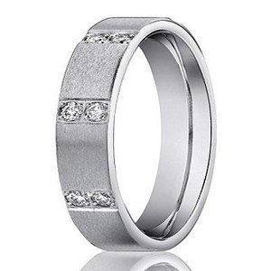 Men's 14K White Gold Diamond Designer Band with Satin Finish | 4mm - JBD1008