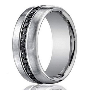 Men's 14K White Gold Diamond Wedding Ring with 20 Black Diamonds | 7.5mm - JBD1009