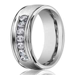 14K White Gold Men's Wedding Ring With Channel Set Diamonds | 6mm