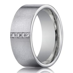 14k White Gold Wedding Ring With 4 Diamonds For Men 8mm Width