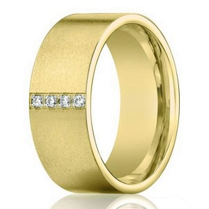 Yellow Gold Designer Men's Pave Diamond Wedding Band in 14K | 8mm