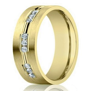 Designer 14K Yellow Gold Wedding Ring for Men with Diamonds | 6mm