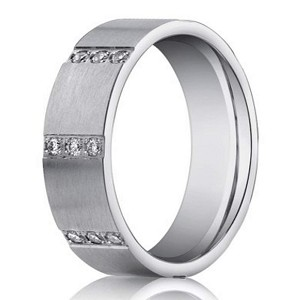Designer Men's 14K White Gold Wedding Band, Pave Diamond Rows | 6mm