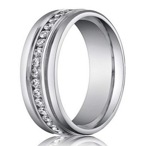 14K White Gold Designer Diamond Eternity Wedding Band for Men | 6mm