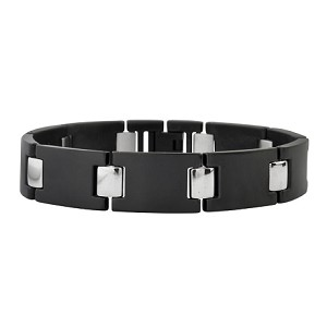 Men's Black Titanium Bracelet with Stainless Steel Connectors - JBR1006