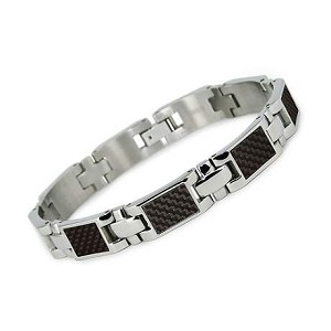 Men's Titanium Bracelet with Polished Carbon Fiber Links  - JBR1021