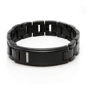 Men's Stainless Steel Bracelet in Black IP Finish With CZ