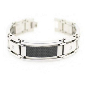 Men's Stainless Steel Bracelet With Black Carbon Fiber and CZ