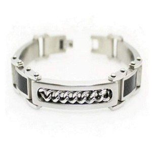 Stainless Steel Men's Bracelet With Carbon Fiber and Chain Inlay