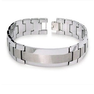 Men's Tungsten Bracelet With ID Centerpiece and Brushed Finish
