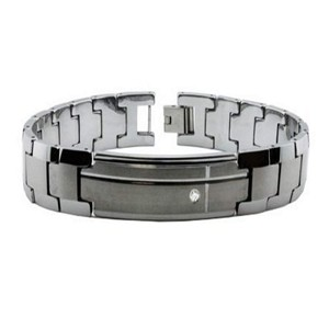 Men's Tungsten Bracelet With Single CZ and Brushed Finish
