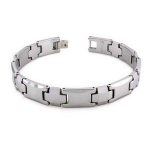 Men's Tungsten Bracelet With Alternating Cross Links